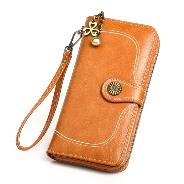 Antique wax leather wallet