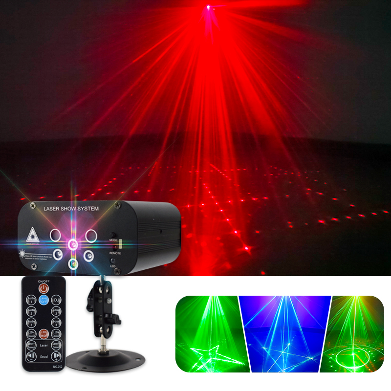 Laser Projector Light 64 Patterns DJ Disco Light Music RGB Stage Lighting Effect Lamp for KTV Home Party