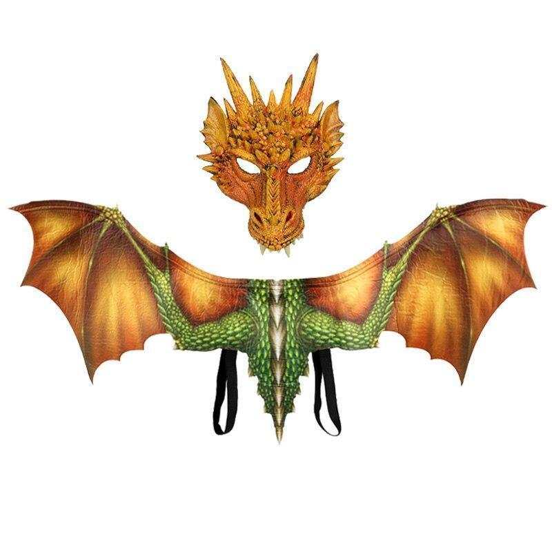 Adult Dragon Costume Mask &Wings | Halloween Costumes for Women Men|Cosplay Costume Party