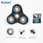 Kemei 4 blades electric shaver for beard hair nose trimmer LCD men electric toothbrush hair clipper with Rechargeable base