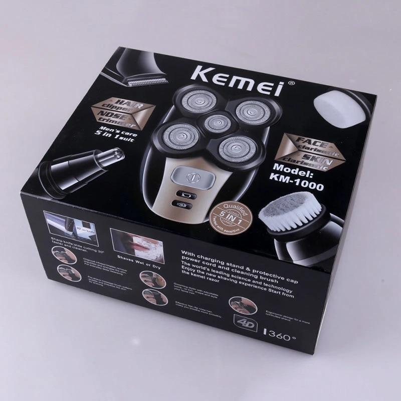 Kemei  5d Electric Shaver 5 in 1 Men Hair Nose Trimmer Face Cleaning Luxury Gift