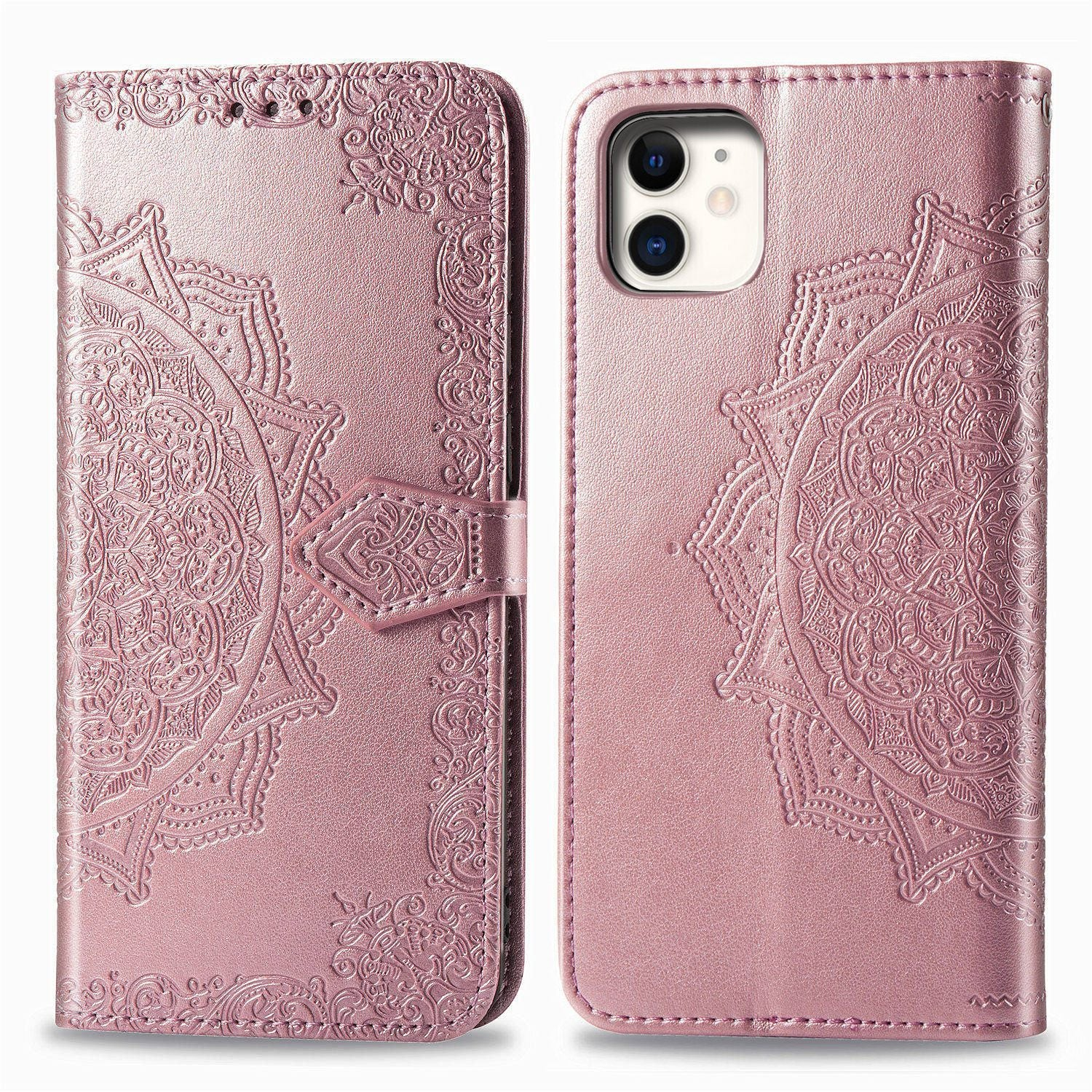 2020 Luxury Embossed Mandala Leather Wallet Flip Case for iPhone 11