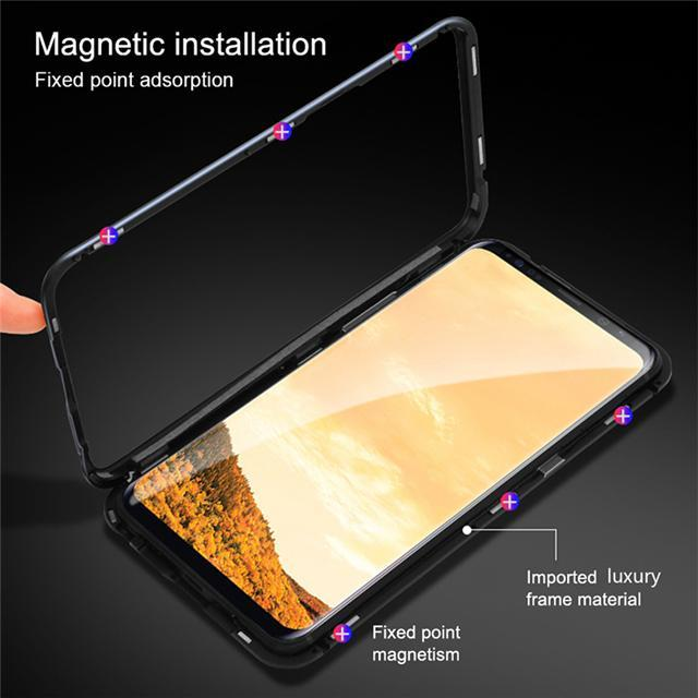 Magnetic Adsorption Metal Tempered Glass Flip Protective Case for Xiaomi Mi 8 Lite
