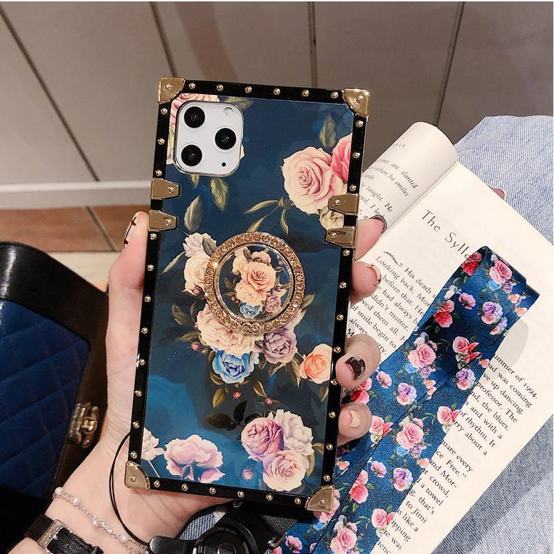 Stylish French Style Flower Lanyard Ring Phone Case for iPhone