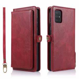 Multifunctional Split Magnetic Wallet Phone Cover Case For Samsung A71/A51 Series