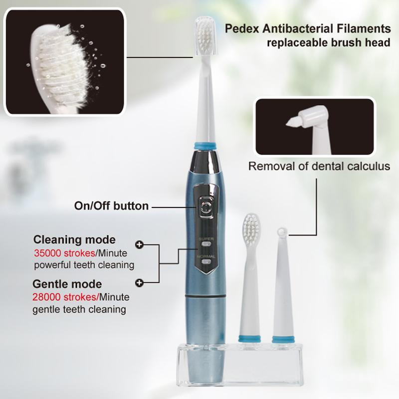 Seago Sonic Electric Toothbrush Waterproof with 3 Replacement Brush Heads
