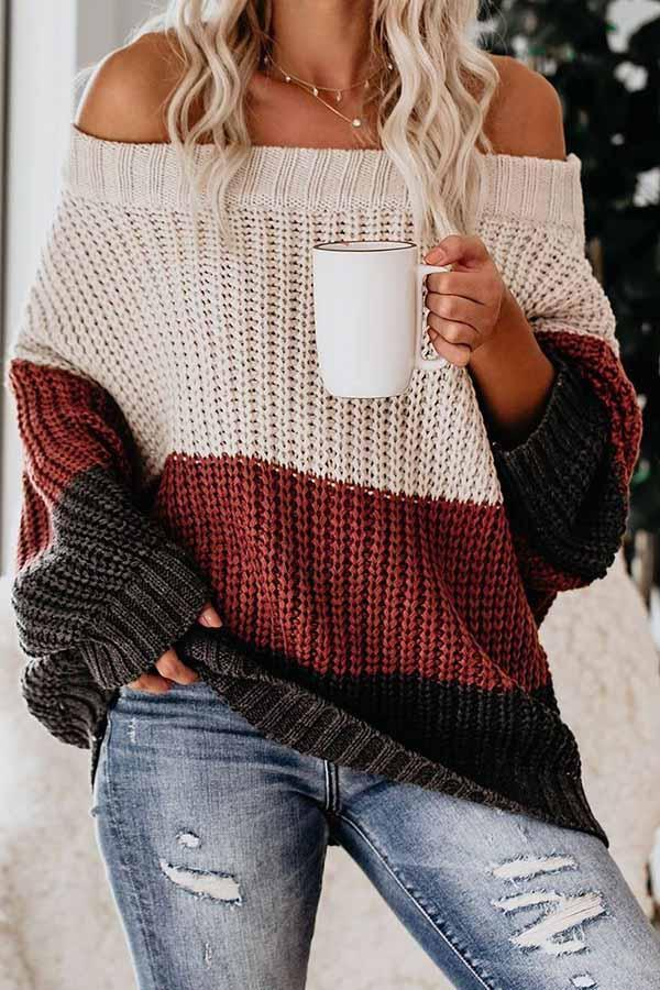 Off Shoulder Collision Color Sweater