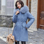 Women's  hooded fur collar thick section warm winter jacket