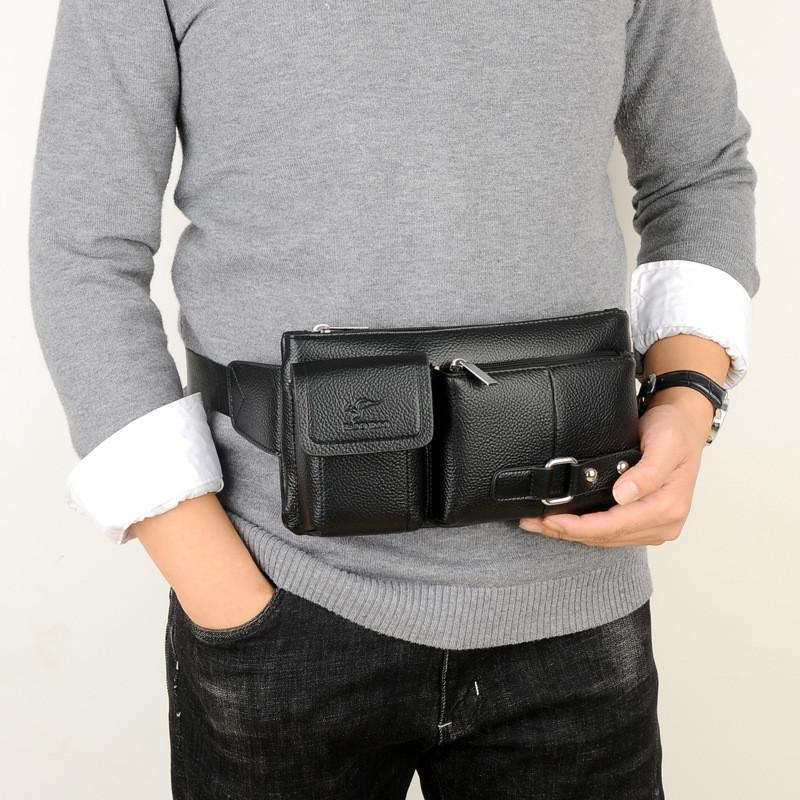 Men's multi-function sports leather chest casual bag