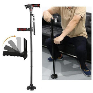 Telescopic folding elderly Crutch with LED light