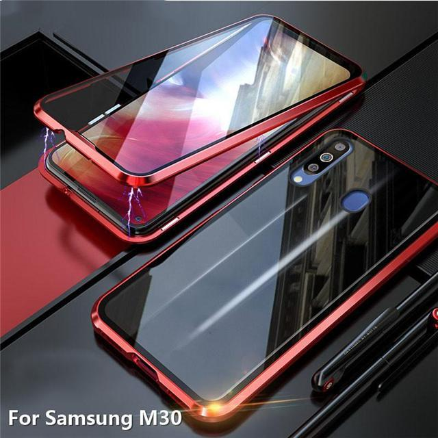 Double-Sided Glass Magnetic Adsorption Metal Bumper Case For Samsung M30/M30s