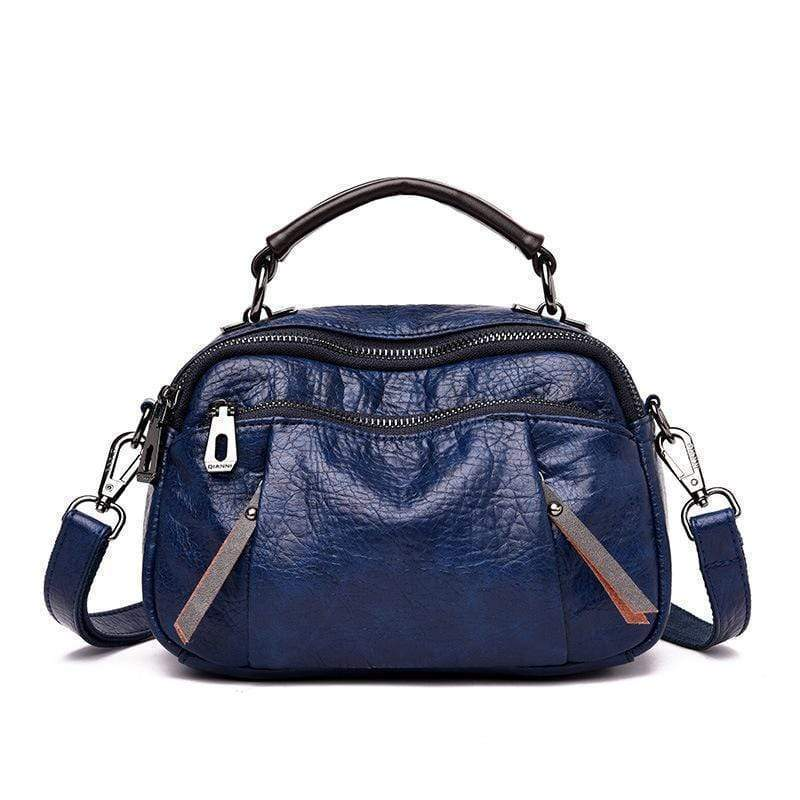 Obangbag Blue Ladies Multi Pockets Soft Leather Fashion Mini Small Cute Shoulder Bag Handbag for Women