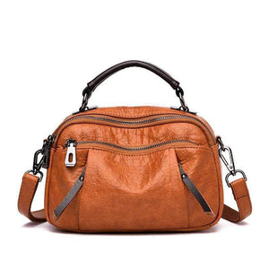 Obangbag Brown Ladies Multi Pockets Soft Leather Fashion Mini Small Cute Shoulder Bag Handbag for Women