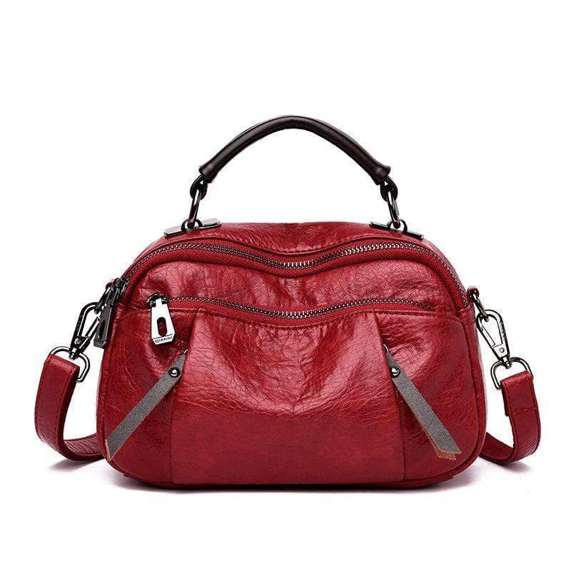 Obangbag Red Ladies Multi Pockets Soft Leather Fashion Mini Small Cute Shoulder Bag Handbag for Women