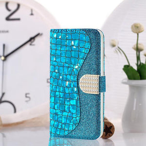 Phone Bags-Laser Powder Wallet Flip Case For HUAWEI