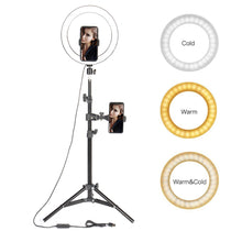 "Load image into Gallery viewer, 10"" LED Ring Light Photographic Selfie Ring Lighting with Stand for Smartphone Youtube Makeup Video Studio Tripod Ring Light"