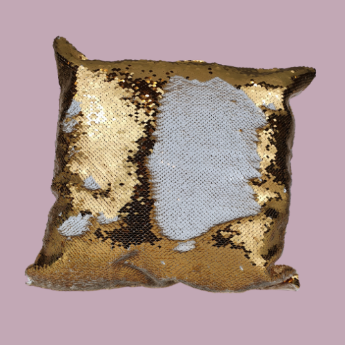 Gold square sequin cushion