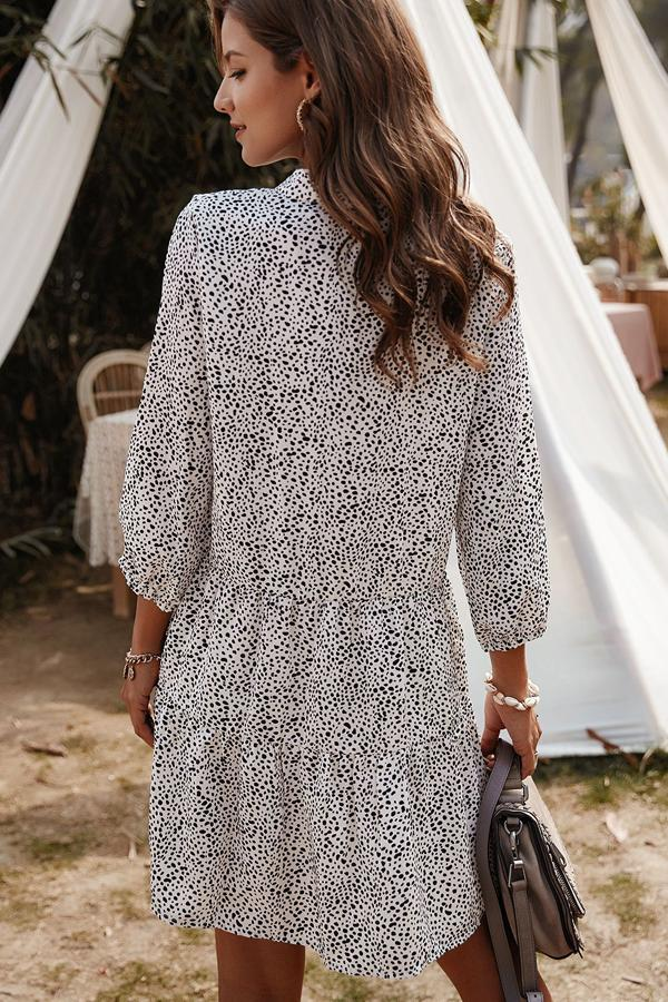 Sheinlove Polka Dot Long Sleeve Mini Dress