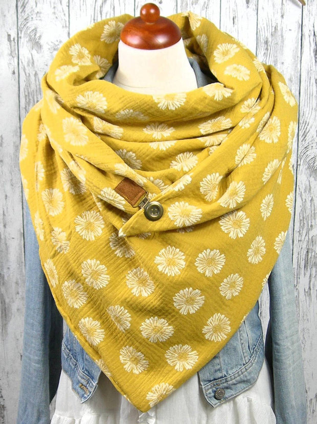 Yellow Printed Casual Scarves