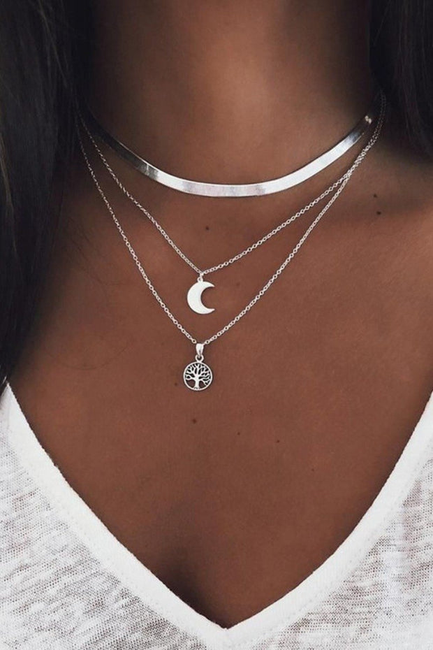 Dokifans 3-piece Moon Silver Necklace