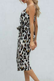 Dokifans Lace-up Leopard Print Yellow Midi Dress