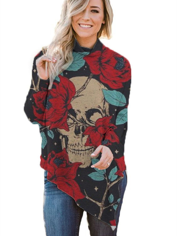 Skull Rose Print Women Tops Long Sleeve Sweatshirt