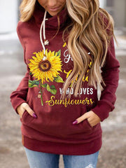 Sunflower print casual sweatshirt