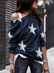 Large crew neck star print casual top