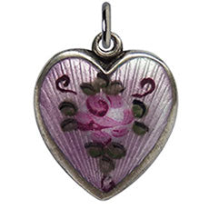 Walter Lampl enamel pink rose lilac background puffy heart charm