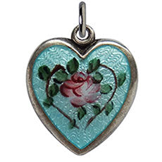 Walter Lampl enamel pink rose aqua blue background puffy heart charm