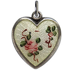 Walter Lampl enamel pink rose yellow background puffy heart charm