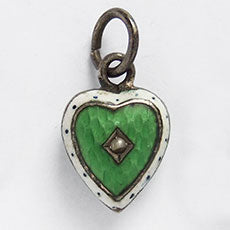 Antique Edwardian Enamel Puffy Heart Charm