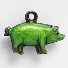 Antique Enamel Green Puffy Pig Charm