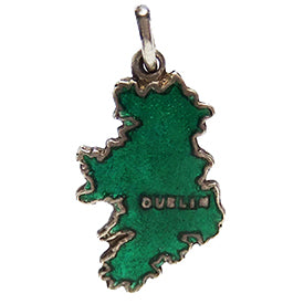 TLM Ireland Map Charm Green Enamel Thomas L Mott