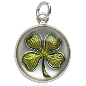 Four Leaf Clover Charm Sterling silver reverse crystal intaglio