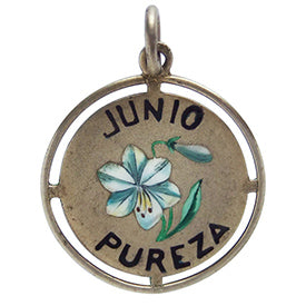 Vintage Junio Pureza June Purity Lily Flower Charm