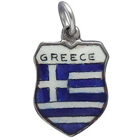 Vintage Greek Flag Travel Shield Charm