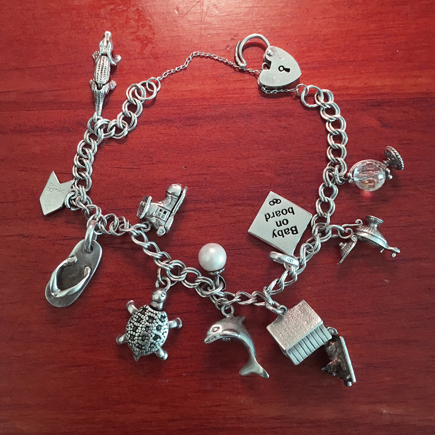 Sterling Silver Charm Bracelet with Family Mementos