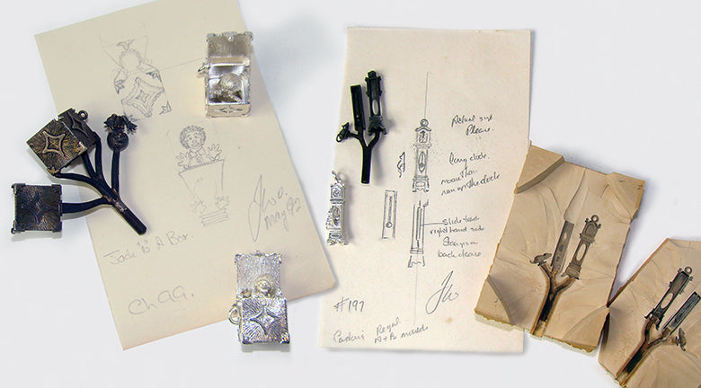 Original sketches and mould for sterling silver and gold charms