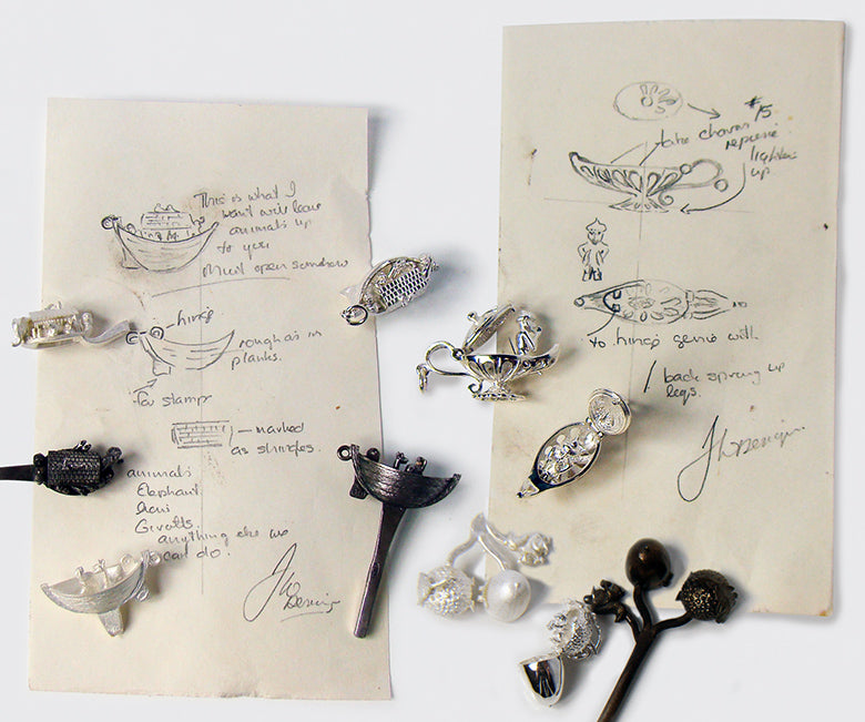 Original sketches for sterling silver and gold charms