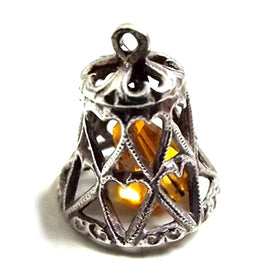 Silver and Yellow Crystal Vintage Silver Bell Charm Pendant