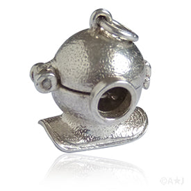 Diving Helmet and Crab Silver Vintage Charm Pendant