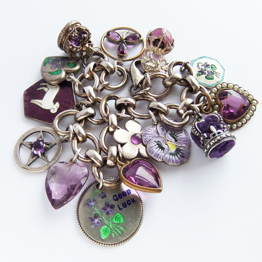 Charm bracelet with antique and vintage enamel and crystal purple violet charms | Silver Star Charms