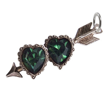 Vintage and Silver Green Crystal Double Hearts and Arrow Charm