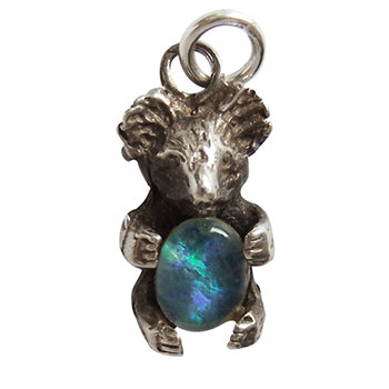 Sterling silver and opal koala charm