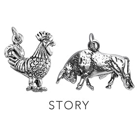 Cock and Bull Story Charming Idiom Sterling Silver Charm Pendant
