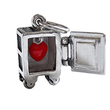 Safe Charm with Red Enamel Heart Inside Sterling Silver | Silver Star Charms