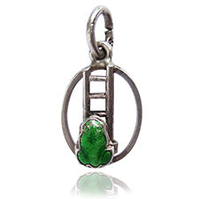 Vintage Silver Enamel Green Frog Climbing Ladder Weather | Silver Star Charms