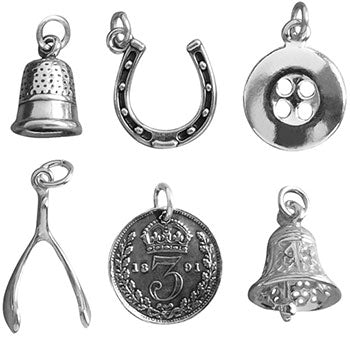 Set of six sterling silver Christmas pudding charms