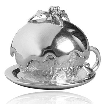 Sterling silver Christmas plum pudding charm